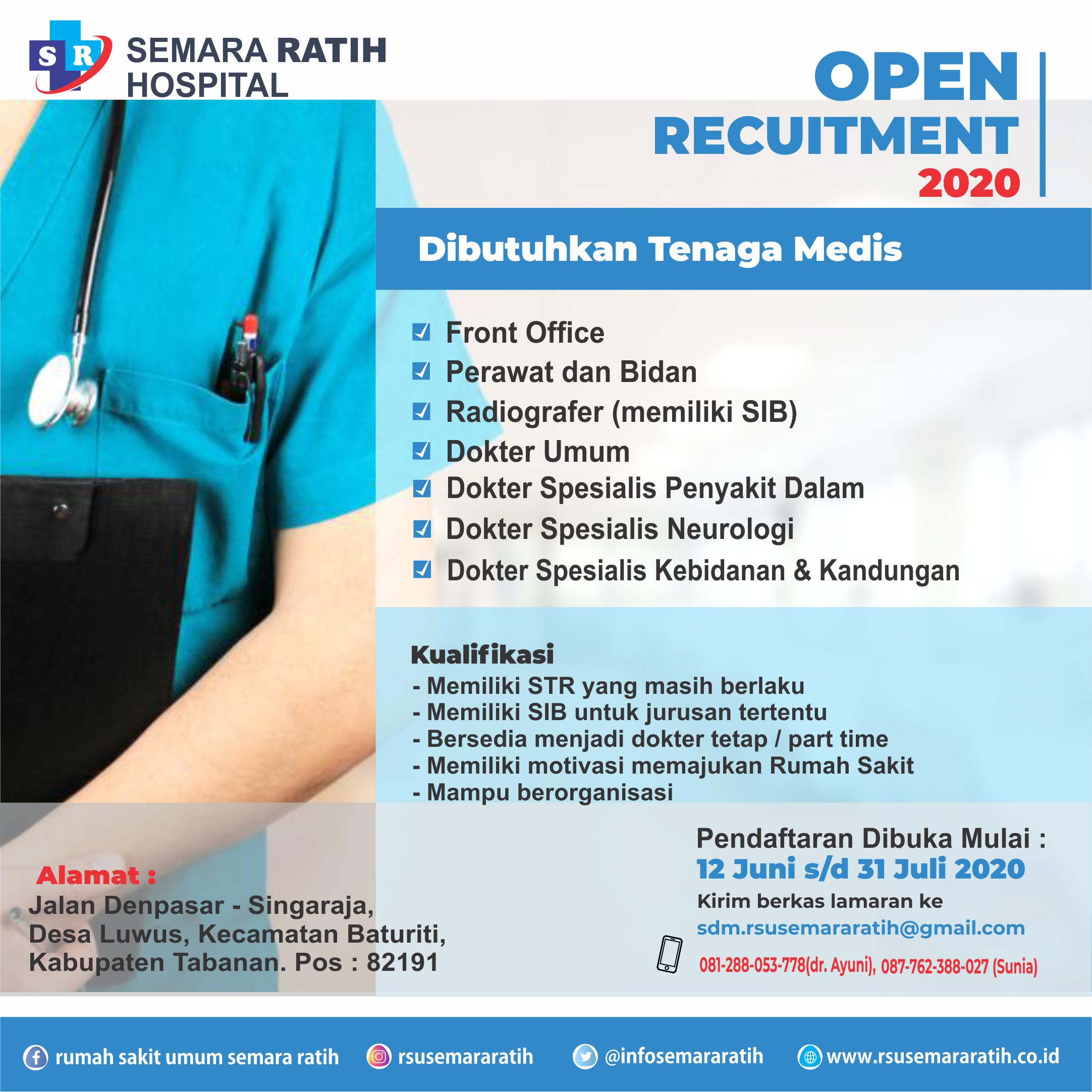 Info Loker Tenaga Medis Dan Paramedis di RSU. Semara Ratih (12 Juni 2020)
