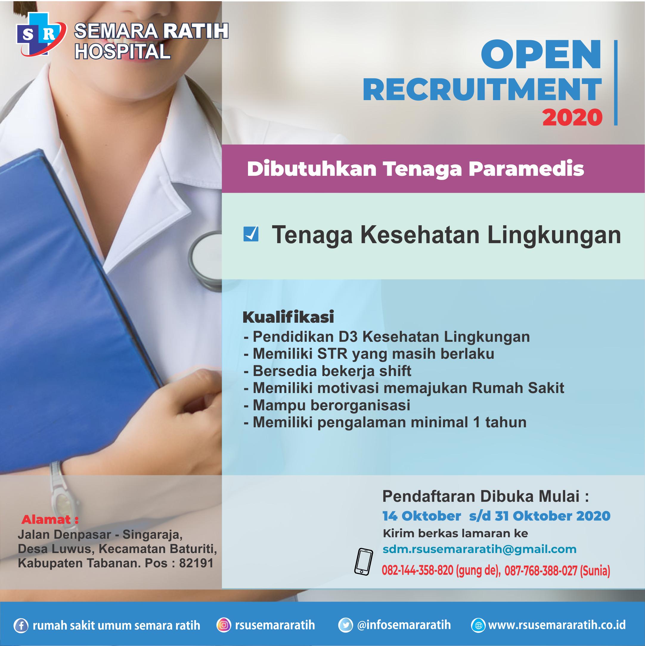 Info Loker Tenaga Kesehatan Lingkungan di RSU. Semara Ratih (14 Oktober 2020)