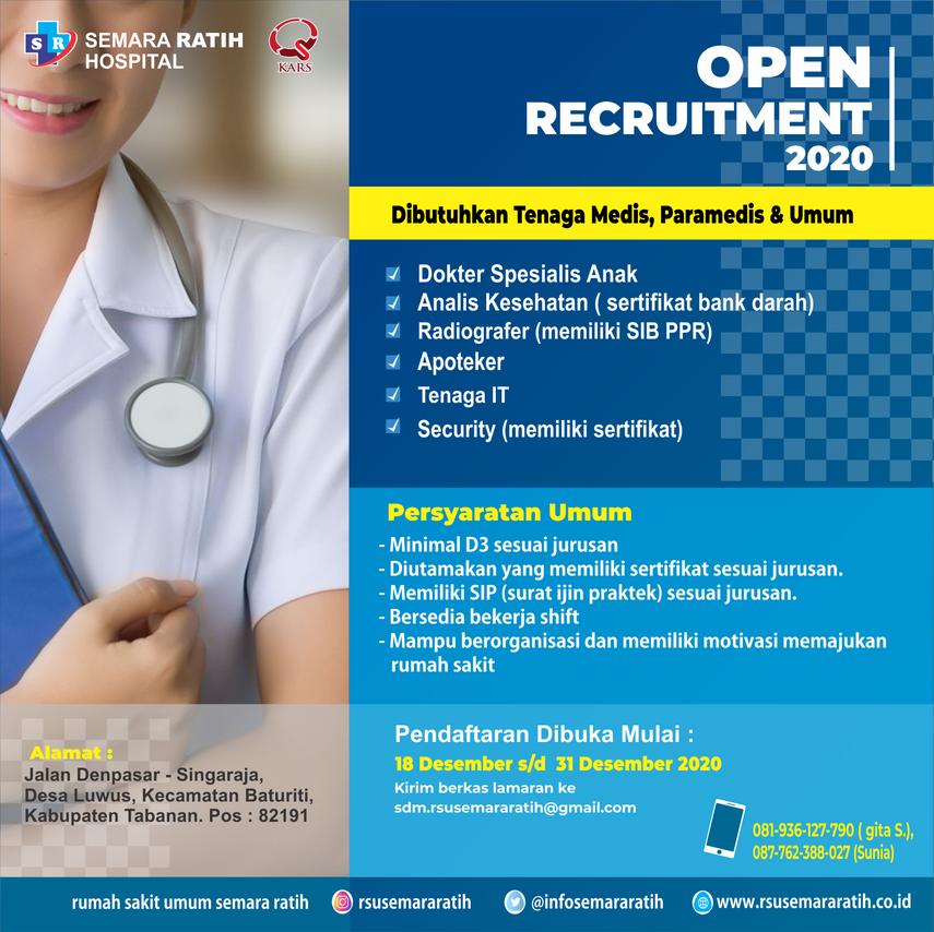 Lowongan Kerja Tenaga Medis Dan Non Medis Di RSU. Semara Ratih (18 Desember 2020)