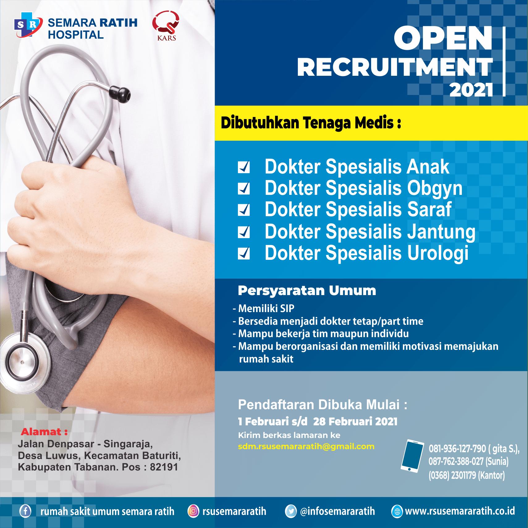 Lowongan Kerja Tenaga Medis  Di RSU. Semara Ratih (1 Februari 2021)