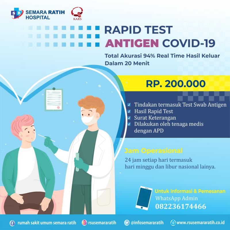 Pemeriksaan Rapid Test Antigen Covid-19 Di RSU. Semara Ratih
