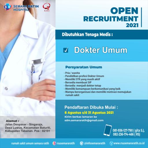 Lowongan Pekerjaan Tenaga Medis Dokter Umum